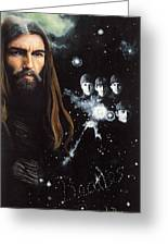 George Harrison And The Beatles Greeting Card by Anne Provost