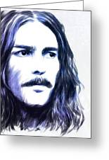 George Harrison Portrait Greeting Card by Wu Wei