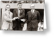 George Sisler Babe Ruth Ty Cobb Greeting Card by Unknown