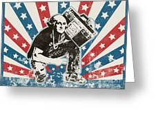 George Washington - Boombox Greeting Card by Pixel Chimp