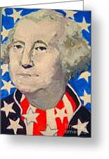 George Washington In Stars And Stripes Greeting Card by Diane Ursin