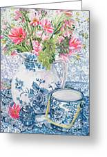 Gerberas In A Coalport Jug With Blue Pots Greeting Card by Joan Thewsey
