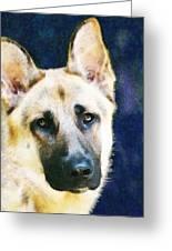 German Shepherd - Soul Greeting Card by Sharon Cummings
