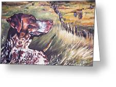 German Shorthaired Pointer And Pheasants Greeting Card by L A Shepard