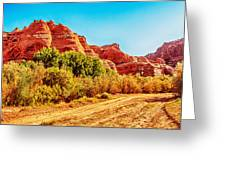 Getting The Sun In Canyon De Chelly Greeting Card by  Bob and Nadine Johnston