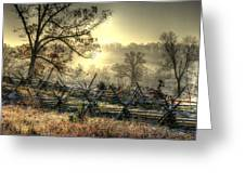 Gettysburg At Rest - Sunrise Over Northern Portion Of Little Round Top Greeting Card by Michael Mazaika