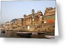 Ghats And Boats On The River Ganges At Varanasi In India Greeting Card by Robert Preston