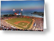Giants Ballpark At Night Greeting Card by Shawn Everhart