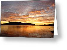 Gilded Fjord While The Sun Set Over Norwegian Mountains Greeting Card by David Schoenheit