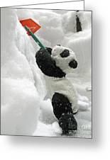 Ginny The Baby Panda In Winter #01 Greeting Card by Ausra Paulauskaite