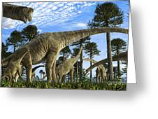 Giraffatitan Brancai Dinosaurs Grazing Greeting Card by Rodolfo Nogueira