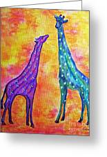 Giraffes With X's And O's Greeting Card by Eloise Schneider