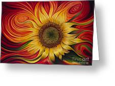 Girasol Dinamico Greeting Card by Ricardo Chavez-Mendez
