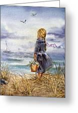 Girl And The Ocean Greeting Card by Irina Sztukowski