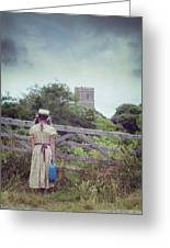 Girl At Gate Greeting Card by Joana Kruse
