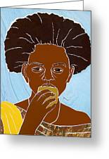 Girl Eating Mango Greeting Card by Martha Rucker