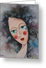 Girl In Tear Greeting Card by Mikyong Rodgers