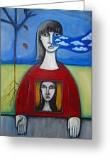 Girl In The Window Greeting Card by Roy Guzman