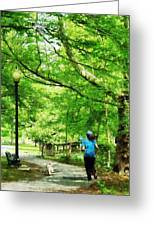 Girl Jogging With Dog Greeting Card by Susan Savad