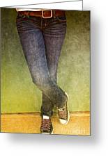 Girl Leaning Against Wall Greeting Card by Birgit Tyrrell