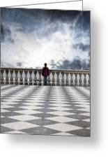 Girl On A Terrace Greeting Card by Joana Kruse