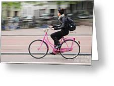 Girl On Pink Bicycle Greeting Card by Oscar Gutierrez