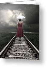 Girl On Tracks Greeting Card by Joana Kruse