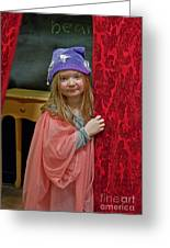 Girl Playing Dress Up On Stage Greeting Card by Valerie Garner