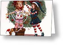 Girls Decorating For Christmas Greeting Card by Isabella Kung