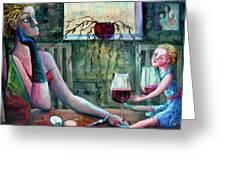 GIRLS PARTY Greeting Card by Elisheva Nesis