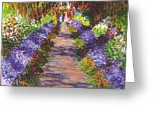 Giverny Gardens Pathway After Monet Greeting Card by Carol Wisniewski