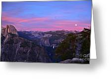 Glacier Point With Sunset And Moonrise Greeting Card by Cassie Marie Photography