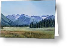 Glacier Valley Meadow Greeting Card by Sharon Freeman