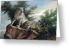 Glamorous Friendship- Snow Leopards Greeting Card by Svitozar Nenyuk