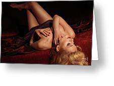 Glamour Photo Of A Woman Lying On A Bed Greeting Card by Oleksiy Maksymenko