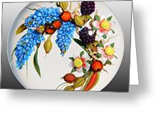 Glass Berries And Blooms Greeting Card by Chris Buzzini