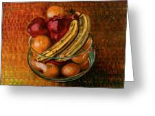 Glass Bowl Of Fruit Greeting Card by Sean Connolly