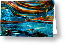 Glass Macro - Blue Swirls Greeting Card by David Patterson