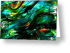 Glass Macro - Greens And Blues Greeting Card by David Patterson