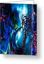 Glass Macro - The Blue Bubble Greeting Card by David Patterson