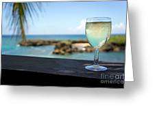 Glass Of Fresh Wine By Tropical Beach Greeting Card by Sami Sarkis