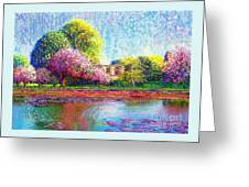 Glastonbury Abbey Lily Pool Greeting Card by Jane Small