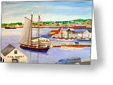 Gloucester Fish Mkt. And Schooners 1939 Greeting Card by Bill Hubbard