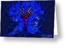 Glow Tree Blue Greeting Card by Pixel Chimp