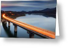 Glowing Bridge Greeting Card by Evgeni Dinev