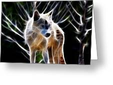 Glowing Wolf Greeting Card by Shane Bechler