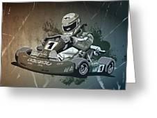 Go-kart Racing Grunge Monochrome Greeting Card by Frank Ramspott