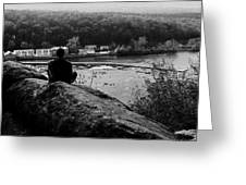 Goat Hill River View Greeting Card by Val Arie