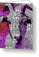 Goat - Pinky - Stone Rock'd Art By Sharon Cummings Greeting Card by Sharon Cummings
