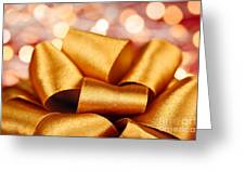 Gold Gift Bow With Festive Lights Greeting Card by Elena Elisseeva